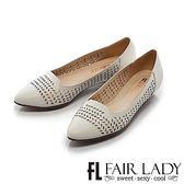 ★2018春夏新品★【Fair Lady】知性桂冠葉雕花縷空尖頭低跟鞋 (白)