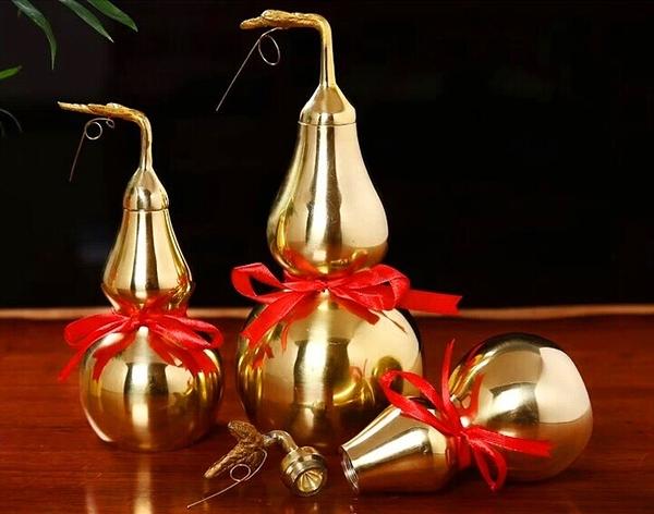 銅葫蘆 純黃銅葫蘆擺件 風水工藝品擺飾 鎮宅辟邪裝飾禮品-高25公分(多款尺寸可選)