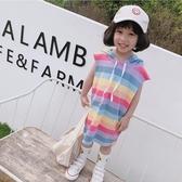 *╮小衣衫S13╭*女童夏裝彩虹條紋連帽無袖長版T裙1080509