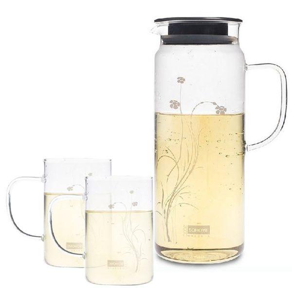 Artist 卡佛冷熱兩用耐熱玻璃水杯組(水壺1300ml+水杯250ml*2)(MF0340)