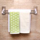 毛巾架 不銹鋼毛巾架免打孔雙桿衛生間浴室壁掛置物架毛巾桿掛毛巾浴巾架