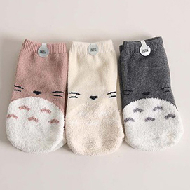正韓 Mini Dressing 龍貓襪 / 大童小童襪 / 襪子 / 嬰兒襪 / 豆豆龍 超值3件組 - 粉/灰/米黃 Totoro Socks