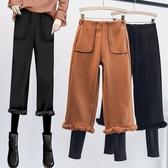 微購【A4672】假二件加絨內搭+毛呢褲 L-4XL