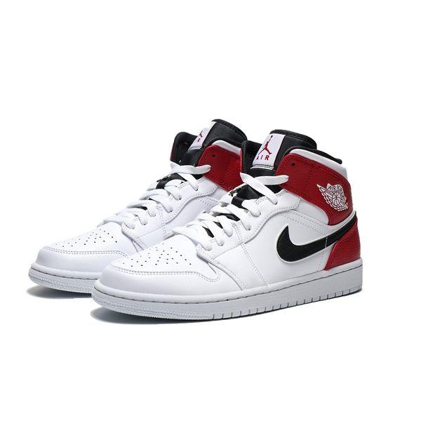 NIKE AIR JORDAN 1 MID 白紅 小芝加哥 中筒 籃球鞋 男 (布魯克林) 554724-116
