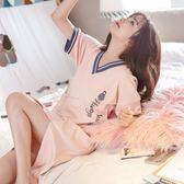 睡衣女夏季短袖大碼韓版清新可愛學生可外穿夏天吊帶性感睡裙【父親節大優惠】