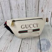 BRAND楓月 GUCCI 527792 復古LOGO 紅綠織帶 白色 小款 腰包 胸包 斜背包