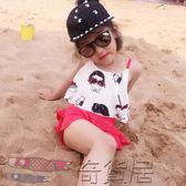 韓版兒童泳衣女童保守游泳衣分體裙式中大童泳裝平角寶寶親子泳衣【奇貨居】