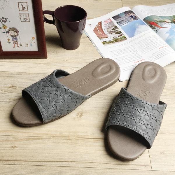 台灣製造-風格系列-編織紋皮質室內拖鞋-冰岩灰