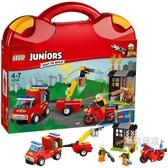 積木小拼砌師系列10740火警巡邏手提箱積木玩具益智拼插xw