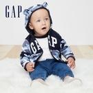Gap嬰兒 Logo小動物圖案抓絨連帽休閒上衣 348443-藍色迷彩