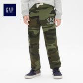 Gap男童 Logo舒適鬆緊腰休閒長褲 373259-綠色迷彩