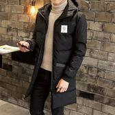 夾克外套-連帽純色中長版後背印花夾棉男外套2色73qa37【時尚巴黎】