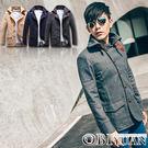 毛呢大衣【F50098】OBI YUAN韓版時尚英國風皮釦立領木釦軍裝外套共3色