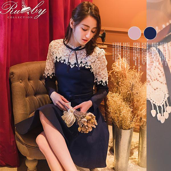 洋裝 透膚鉤花綁帶長袖洋裝-Ruby s 露比午茶