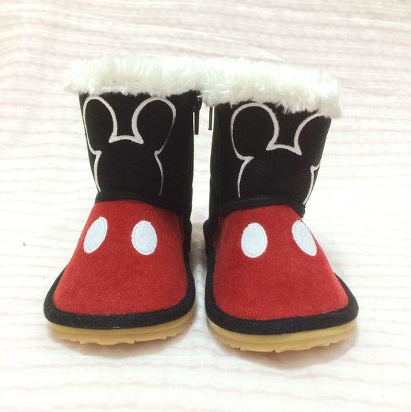 【現貨零碼出清】迪士尼 米奇 童鞋 雪靴 靴子 紅黑款