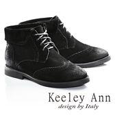 ★2016秋冬★Keeley Ann馬丁小姐帥氣綁帶牛麂皮短靴(黑色)