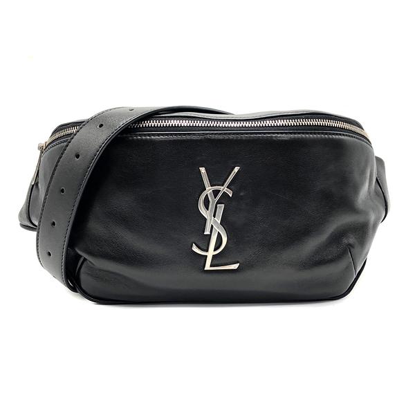 【台中米蘭站】全新品 YSL 仿舊銀字羊皮肩胸包/腰包(590076-黑)