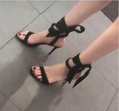 高跟鞋chic網紅高跟鞋女細跟夏季綁帶涼鞋女仙女風蝴蝶結露趾一字帶  海角七號