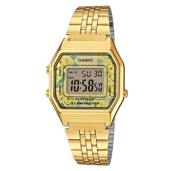 【CASIO】 方格典雅玫瑰金色電子錶-花團錦簇(LA-680WGA-9C)