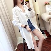 中長款2018春夏裝新款長袖寬鬆超火白襯衫bf薄外套上衣潮