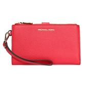 MICHAEL KORS Adele 荔枝紋皮革雙拉鍊手機包中夾(紅色)618107-5