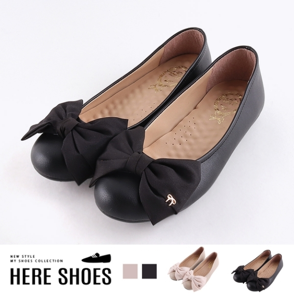 [Here Shoes] 休閒鞋-舒適乳膠鞋墊皮質拼接布面平底娃娃鞋懶人鞋MIT台灣製─KN8103