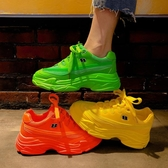 老爹鞋老爹鞋女ins潮新款厚底綠色跑步休閒運動鞋學生網面透氣 限時特惠