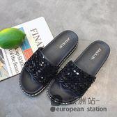 厚底拖鞋/女夏新款韓版外穿百搭平底一字拖亮片涼拖潮「歐洲站」