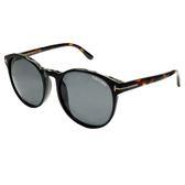 【TOM FORD太陽眼鏡】復古圓框雙色系-黑框-琥珀鏡腳 (TF9353-01A)