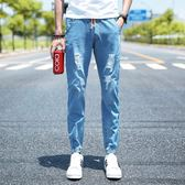 男牛仔褲窄管褲破洞九分褲男時尚系帶松緊束腳褲《印象精品》t544