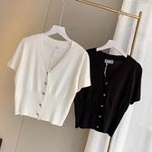 針織衫 T恤女短袖夏新款V領冰絲針織開衫薄外套顯瘦瑣骨高腰露臍短款上衣「草莓妞妞」