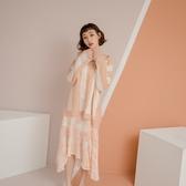 文靜氣質套裝 透視條紋毛衣罩衫+雪紡印花吊帶洋裝 ( 果綠 鵝黃 粉橘)