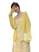 春裝韓版寬松簡約長袖針織開衫外套雪紡吊帶連身裙套裝兩件套女