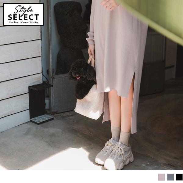《KG0599-》極輕保暖前短後長造型開衩素色針織長洋裝 OB嚴選