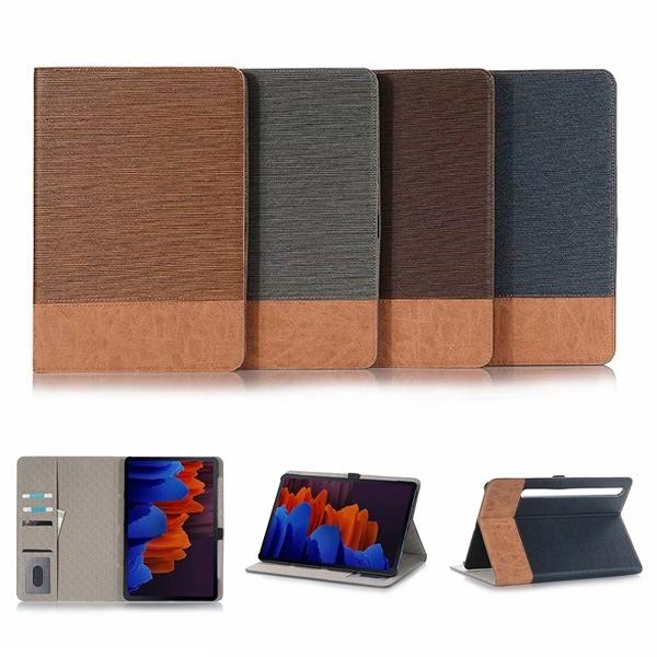 三星 Tab S7 (T870/T875) Tab S7+ (T970/T975) 木紋平板套 平板皮套 插卡 支架 平板保護套