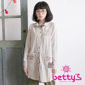 betty's貝蒂思 雙色日系格子英文刺繡拼布長版襯衫(灰色)