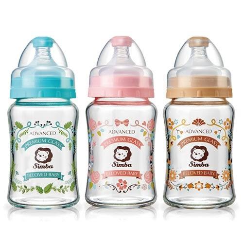 【奇買親子購物網】小獅王辛巴simba 蘿蔓晶鑽寬口葫蘆玻璃小奶瓶180ml