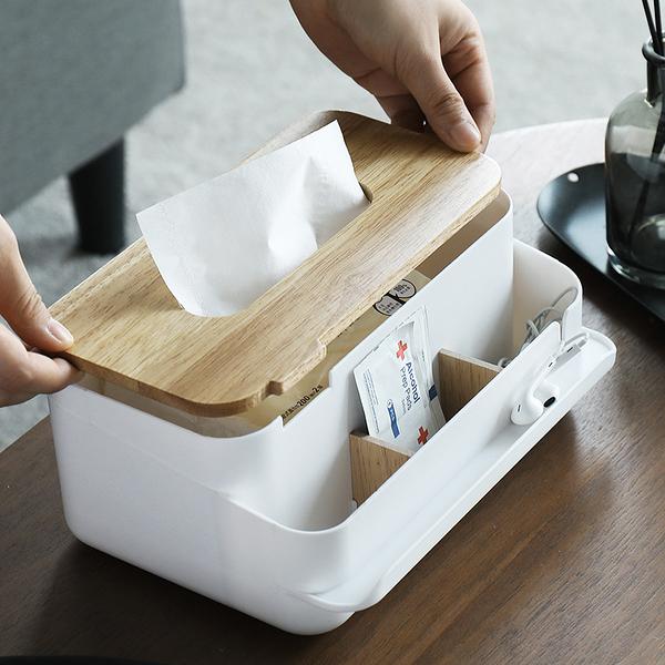 兩木片分隔款面紙盒 可拆分隔面紙盒 木蓋面紙盒 紙巾盒 衛生紙盒 桌上收納盒 桌面收納【RS1089】