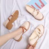 日繫娃娃鞋瑪麗珍鞋平底圓頭小皮鞋【南風小舖】