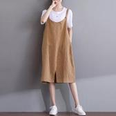 春夏季新款文藝寬鬆大碼無袖吊帶背帶裙子休閒百搭棉麻連身裙     米希美衣