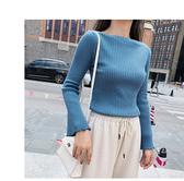 針織衫 素色 簡約 一字領 喇叭袖 毛衣 長袖 針織衫 M、L碼【NDF5303】 ENTER