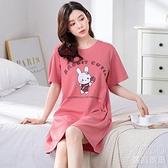 冰絲睡衣 【180斤可穿】棉質短袖睡裙女夏學生韓版寬松加大碼女士睡衣外穿 618大促銷
