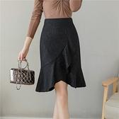 包臀半身裙S-3XL2130蕾絲半身裙魚尾裙擺女不規則荷葉邊顯瘦包臀裙高腰一步裙T621快時尚