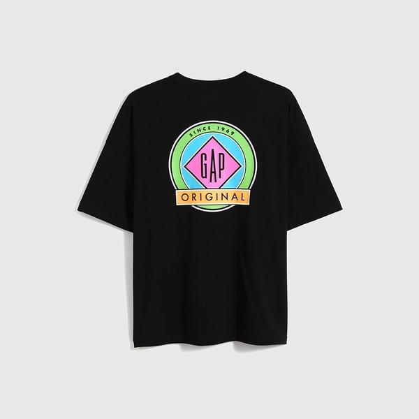 Gap男裝 厚磅密織系列Logo貼袋純棉寬鬆T恤 697708-黑色