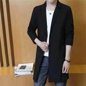 風衣男春秋季中長款韓版潮流2019新款修身西裝薄款大衣男春裝外套 交換禮物