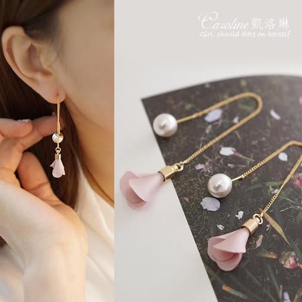 《Caroline》★韓版雜誌推薦款珍珠粉色花蕾氣質長款耳環68803