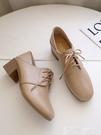 皮鞋 粗跟英倫風小皮鞋女2021春秋新款方頭復古學院風系帶學生中跟單鞋 【99免運】
