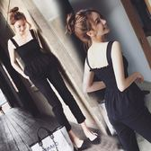 連身褲 時髦套裝女俏皮高腰顯瘦露肩上衣闊腿長褲兩件套 全館八折柜惠