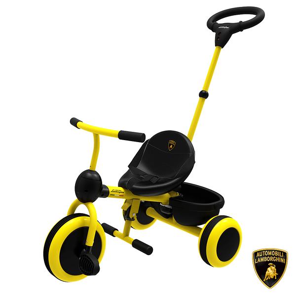 【Lamborghini藍寶堅尼】全台獨家 兒童三輪車 腳踏車手推車 幼童手推腳踏三輪車