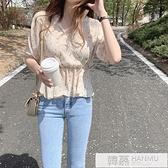 韓國chic洋氣襯衫女設計感小眾復古心機韓版收腰甜美短袖雪紡上衣 夏季新品